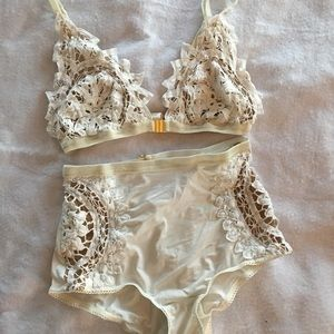 For Love & Lemons Crochet Bra & Pantie Set